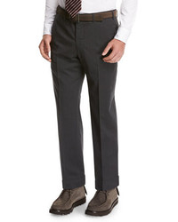 Giorgio Armani Wool Flat Front Trousers Gray
