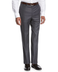 Brioni Wool Flat Front Trousers Gray
