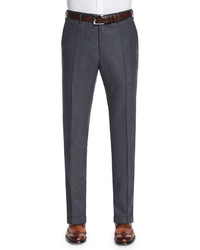 Incotex Woolcashmere Flannel Trousers Charcoal