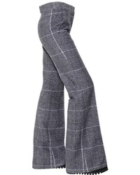 Calvin Klein Collection Plaid Wool Flared Trousers