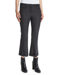 Brunello Cucinelli Prince Of Wales Cropped Flare Pants Charcoal