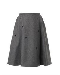 Rochas Crystal Embellished Wool Blend Skirt