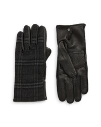 Burberry Check Wool Blend Leather Gloves