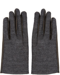 Lanvin Grey Wool Leather Gloves