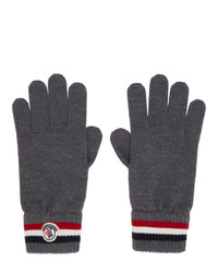 Moncler Grey Wool Stripe Gloves