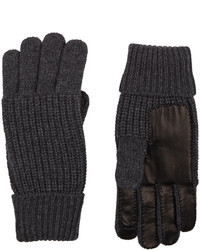Barneys New York Leather Trim Knit Gloves Black
