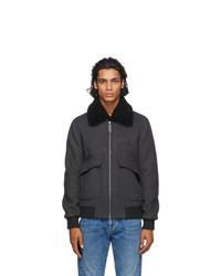 Charcoal Wool Harrington Jacket