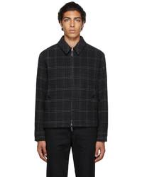 Burberry Grey Wool Cashmere Check Harrington Jacket