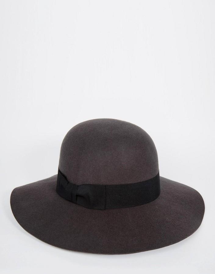 050aa05b6d4cc ... Wool Hats Asos Brand Beekeeper Hat In Gray Felt With Wide Brim ...