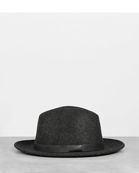 AllSaints Bronson Leather Fedora Hat
