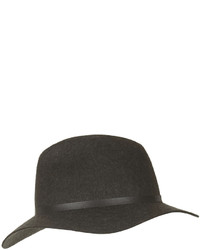 Charcoal classic wool fedora hat with band detail 100 wool spot clean only medium 167789