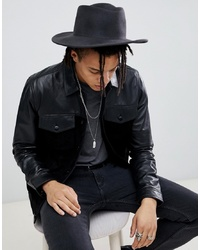 ASOS DESIGN Wide Brim Pork Pie Hat In Black With Distressing