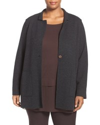 Plus size notch collar felted merino knit jacket medium 834676