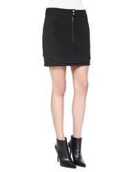 Andrew Marc Bonded Wool Double Hem Miniskirt