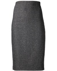 Charcoal Wool Pencil Skirt