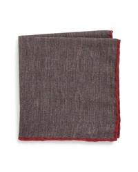 Eleventy Solid Wool Cotton Pocket Square