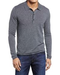Billy Reid Merino Wool Long Sleeve Polo Shirt