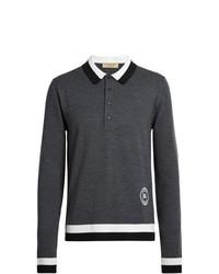 Burberry Stripe Detail Merino Wool Long Sleeve Polo Shirt
