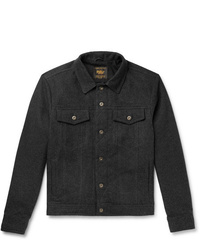 Golden Bear The Holden Leather Trimmed Cotton Flannel Jacket