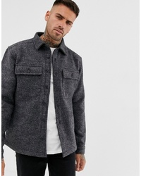 Pull&Bear Wool Coach Jacket In Grey Marl