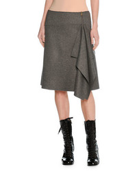 Tomas Maier Felted Wool Asymmetric Draped Skirt