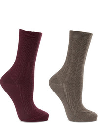 Set of two armour textured wool blend socks gray medium 964597