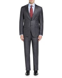 Canali Sharkskin Super 130s Wool Two Piece Suit Gray