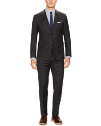 Charcoal Wool Flannel Tic Weave Slim Fit Suit