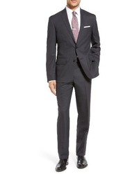 Shop tech smart trim fit solid stretch wool travel suit medium 3693862