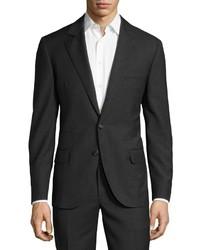 Brunello Cucinelli Slim Two Piece Grid Wool Suit Anthracite