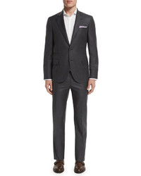 Brunello Cucinelli Solid Gabardine Two Piece Wool Suit Charcoal