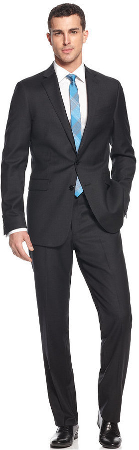 Calvin Klein Solid Wool Charcoal Slim X Fit Suit | Where to buy ...