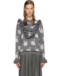 Stella McCartney Grey Ruffle Swan Sweater