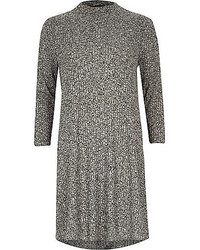 River Island Grey Marl Ribbed Turtle Neck Swing Dress