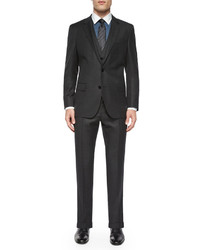 Hugo Boss Boss Birdseye Three Piece Wool Suit Gray