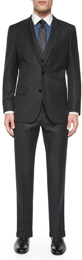 Hugo Boss Boss Birdseye Three Piece Wool Suit Gray