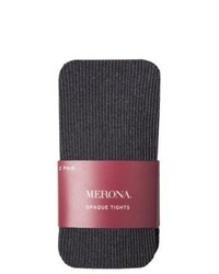 Commonwealth Merona 2 Pack Opaque And Ribbed Tights Heather Grey Sm