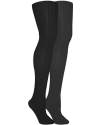 Muk Luks 2 Pk Ribbed Microfiber Tights