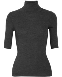 Leenda ribbed merino wool turtleneck sweater dark gray medium 3947404