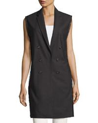 Brunello Cucinelli Long Lightweight Wool Vest Dark Gray