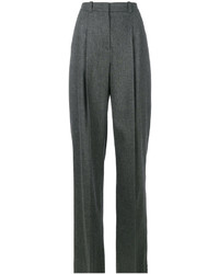 Jil Sander Navy Pleated Wide Leg Trousers