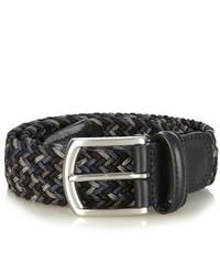 Charcoal Woven Leather Belt