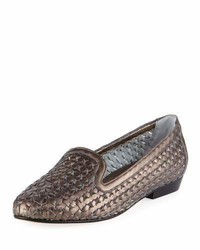 Sesto Meucci Neya Woven Metallic Loafer Pewter