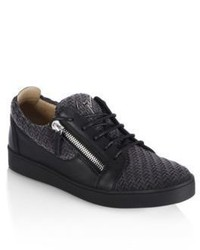 Giuseppe Zanotti Woven Suede Low Leather Sneakers