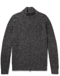 Brunello Cucinelli Cable Knit Mlange Wool Blend Zip Up Cardigan