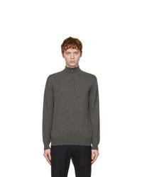 Loro Piana Grey Cashmere Half Zip Sweater