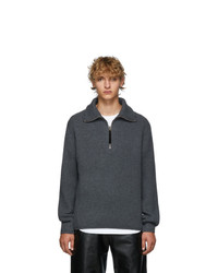 Acne Studios Grey Melange Wool Half Zip Sweater