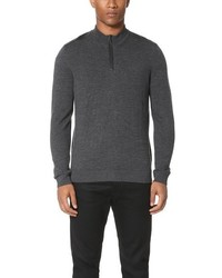 The Kooples Sport Leather Detail Half Zip Sweater