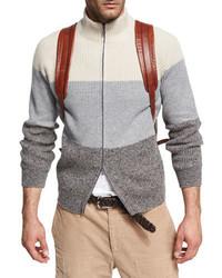 Donegal colorblock zip front cardigan gray medium 3729303