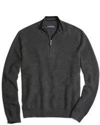 Brooks Brothers Merino Pique Stitch Half Zip Sweater